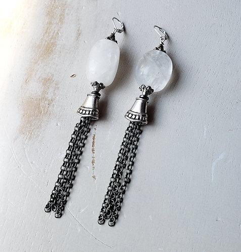 Long Snow Quartz Fringe Earrings