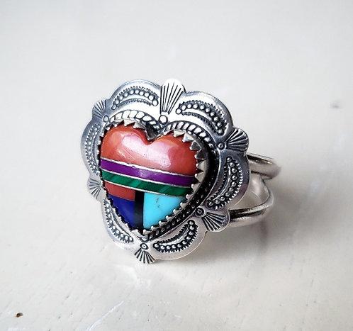 Vintage Multi-stone QT Heart Ring, Size 9.5 US