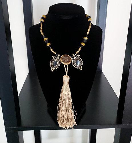 Black & Gold Tassel Necklace