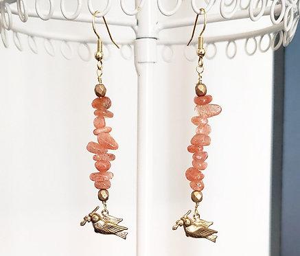 Orange Moonstone & Brass Dove Earrings