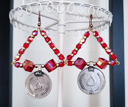 Sparkly Red Coin Earrings