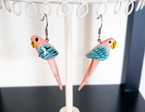 Wooden Parrot Earrings
