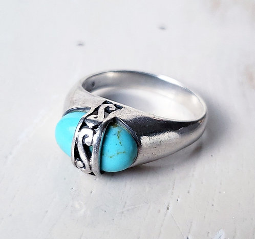 Vintage Sterling Silver Turquoise Ring, Size 9.5 US