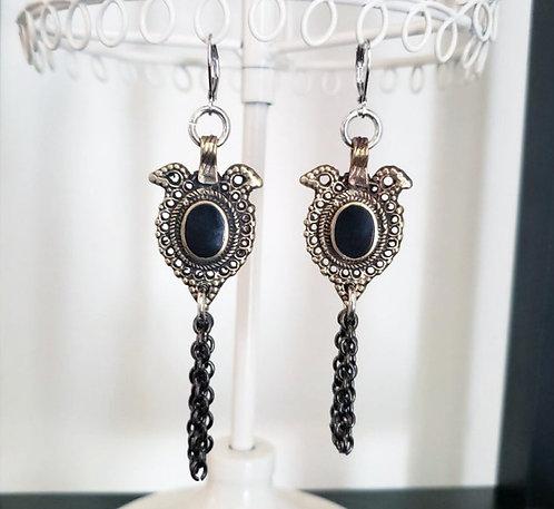 Kuchi Black Stone Charm Earrings