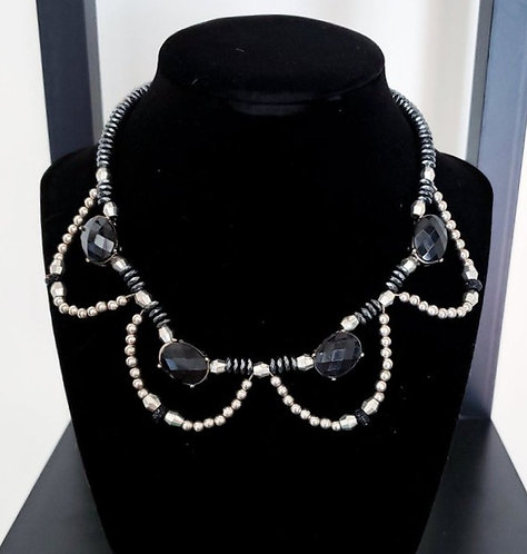 Black & Silver Beaded Necklace