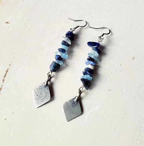 Sodalite & Kuchi Charm Earrings