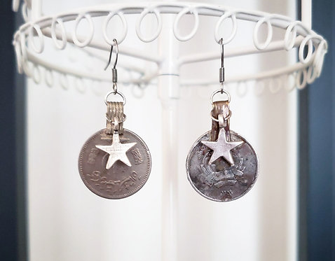 Vintage Coin & Star Earrings