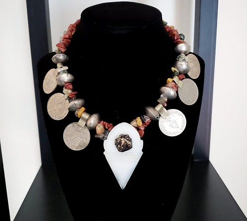 White Glass Talhakimt & Goldstone Necklace