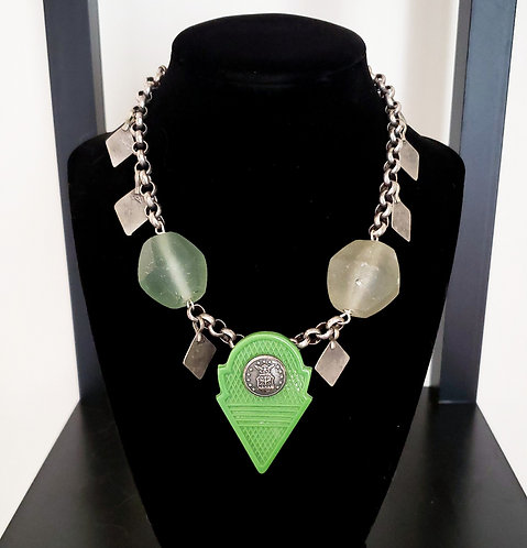 Green Talhakimt & Recycled Glass Necklace