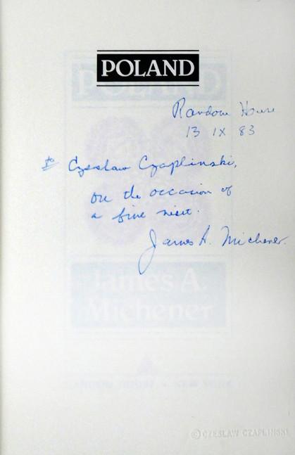 1983 D076957 1983 Michener James  podpisane ksiazki Czeslaw Czaplinski.jpg