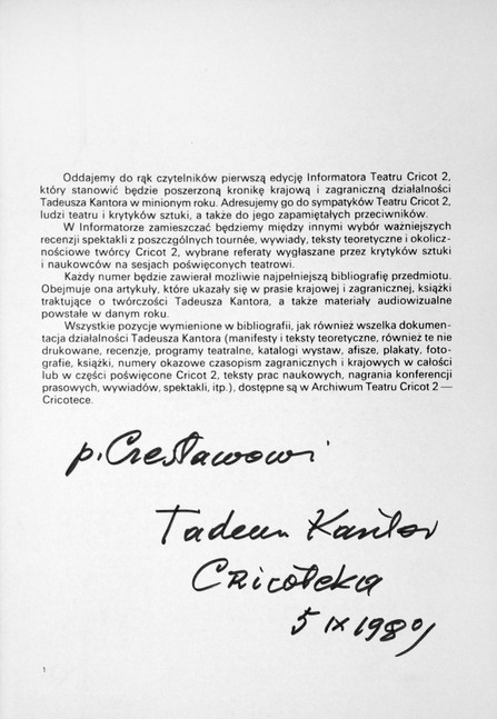 1989 D076964 1989 Kantor Tadeusz  podpisane ksiazki Czeslaw Czaplinski.jpg