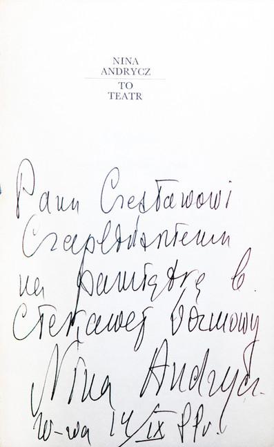 1988 D074318 1988 Nina Andrycz ksiazki podpisane Czeslaw Czaplinski.jpg