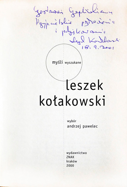 2001 D076726 2001 Leszek Kolakowski ksiazki podpisane Czeslaw Czaplinsk.jpg