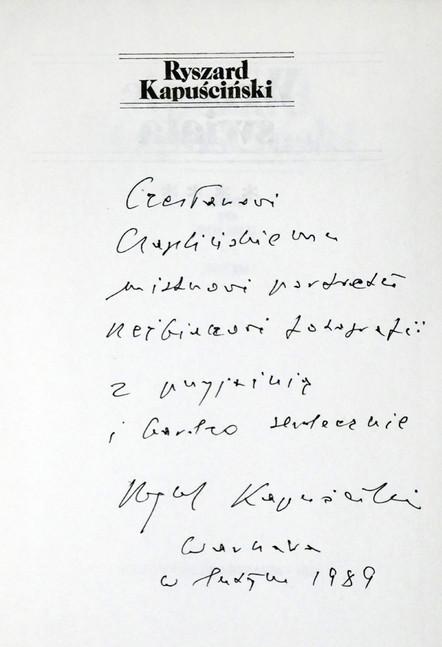 1989 D076977 1989 Kapuscinski Ryszard  podpisane ksiazki Czeslaw Czaplinski.jpg