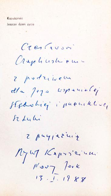 1988 D074320 1988 Ryszard Kapuscinski ksiazki podpisane Czeslaw Czaplinski.jpg