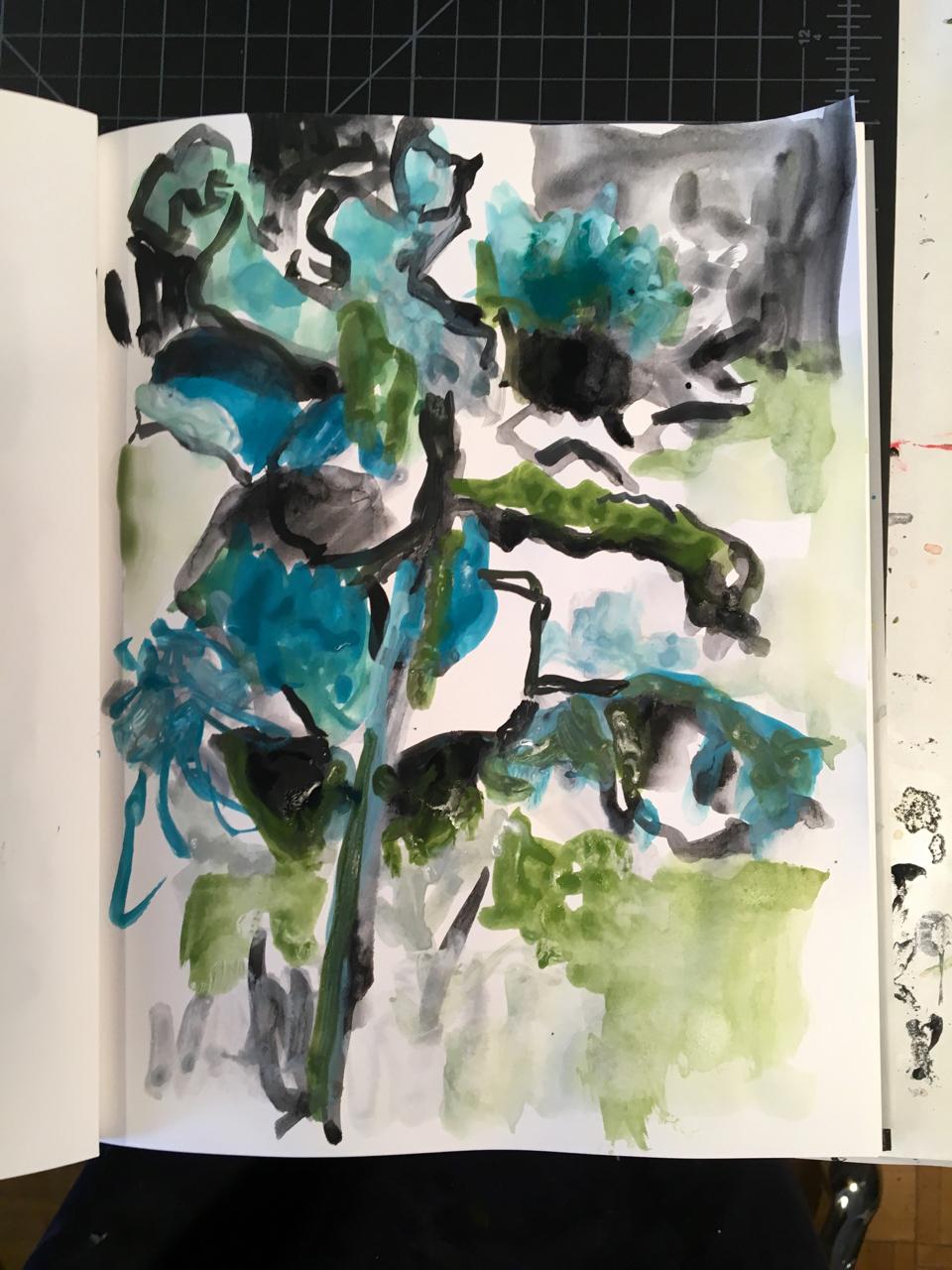 blue flora gouache