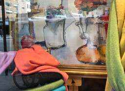 Large scale watercolor sketch featured in the window of San Francisco Clothing