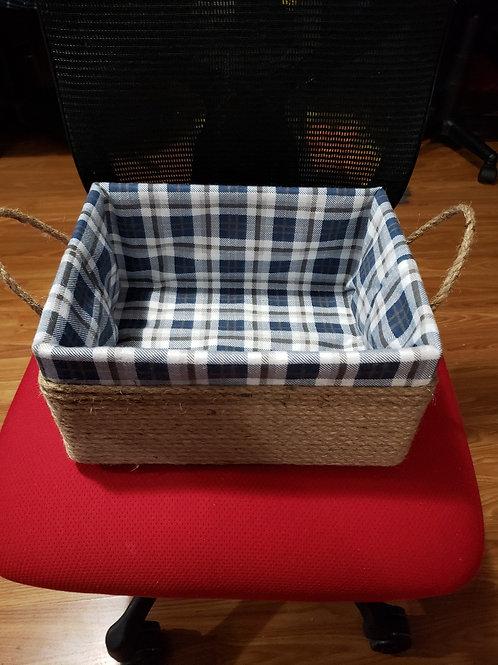 Blue plaid basket