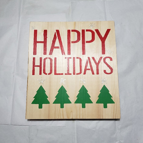 Happy Holidays wood sign