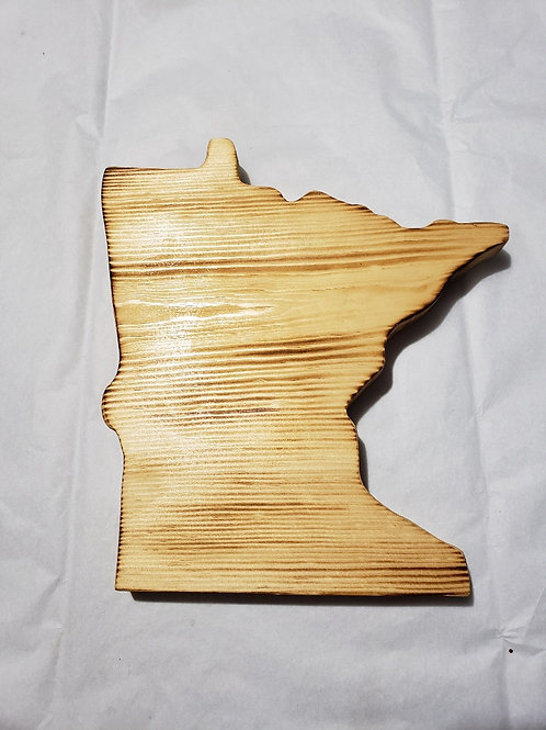 Small Minnesota wood burnt sign