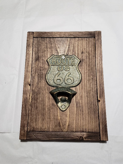 Route 66 bottle opener sign