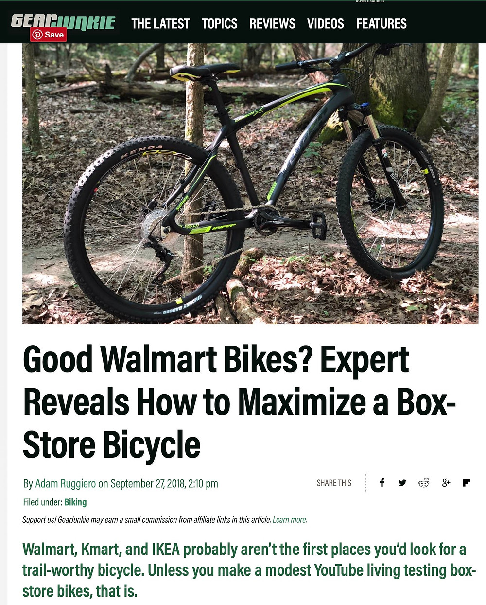 KevCentral article on GearJunkie.com