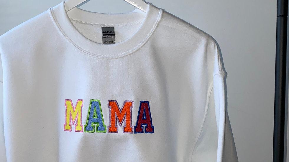Embroidered Women's MAMA White Sweatshirt