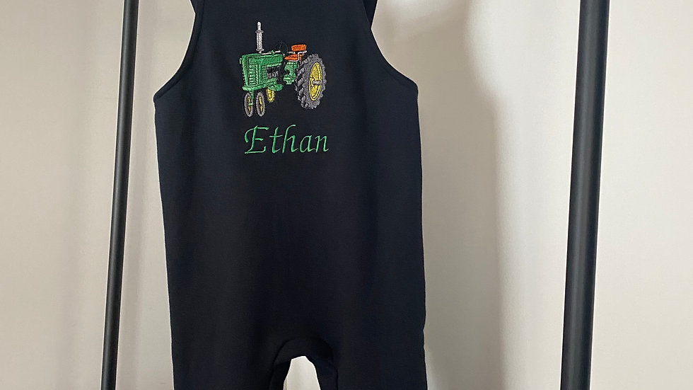 Personalised Embroidered Tractor with Name Dungarees