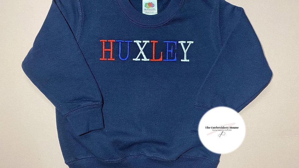 Personalised Embroidered Navy Name Sweatshirt
