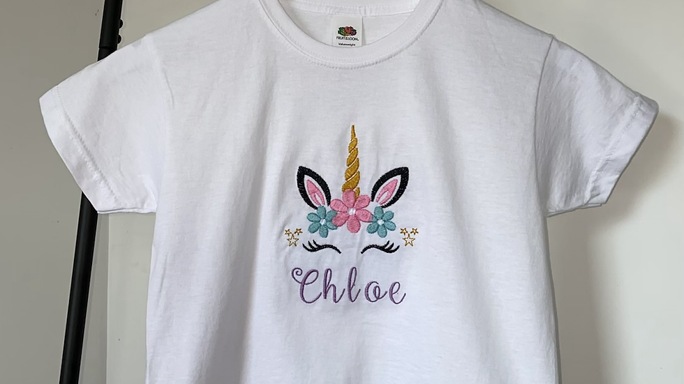 Personalised Embroidered Unicorn Name T-shirt 100% Cotton