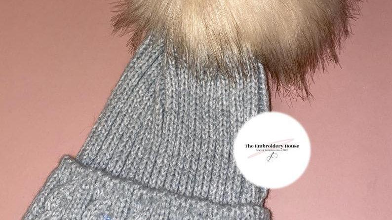 Personalised Embroidered Grey Pom Pom Beanie Hat Size Newborn-12 Months