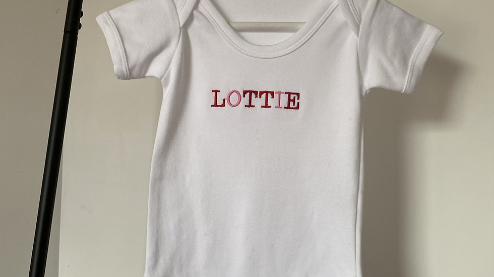 Personalised Embroidered Multi-Coloured Baby's Name White Bodysuit 100% Cotton