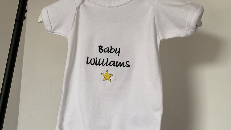 Personalised Baby's Bodysuit 100% White Cotton