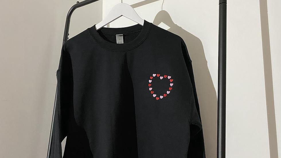 Adults Embroidered Love Hearts Sweatshirt