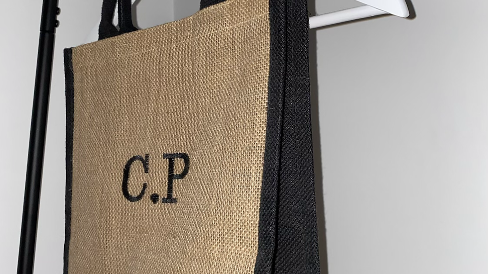 Personalised Embroidered Initial Jute Bag with Black Trim