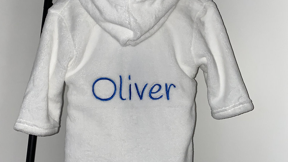 Personalised Embroidered White Baby's Dressing Gown