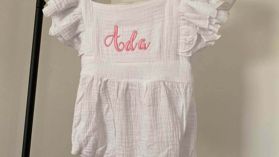 Personalised Embroidered White Baby Romper