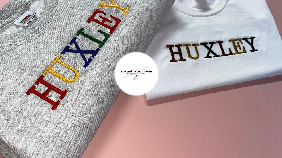 Personalised Embroidered Multi-Coloured Sweatshirt + T-Shirt Combo