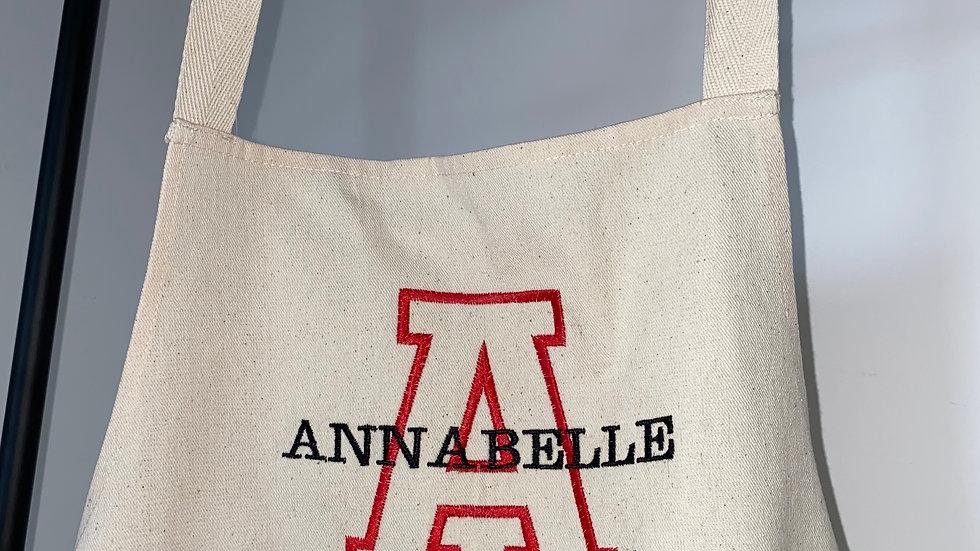 Personalised Embroidered Monogram Junior Apron 100% Cotton