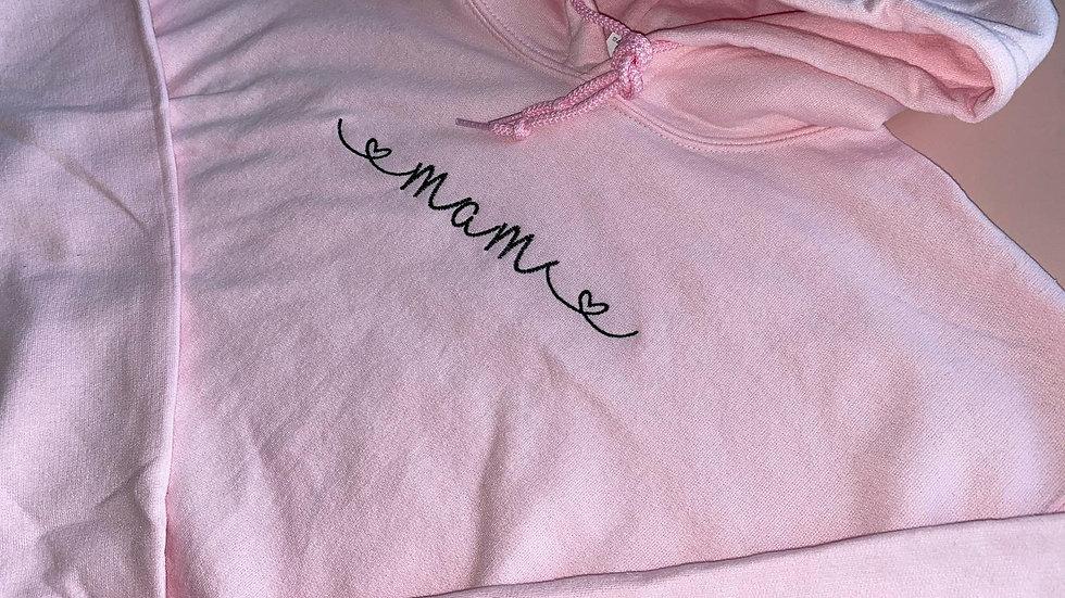 Personalised Embroidered Pink Hoodie with 'Mam/Mum/Grandma/Nan/Aunt'