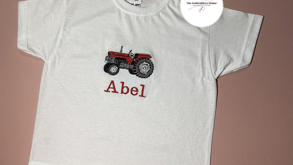 Personalised Embroidered Tractor Name T-shirt