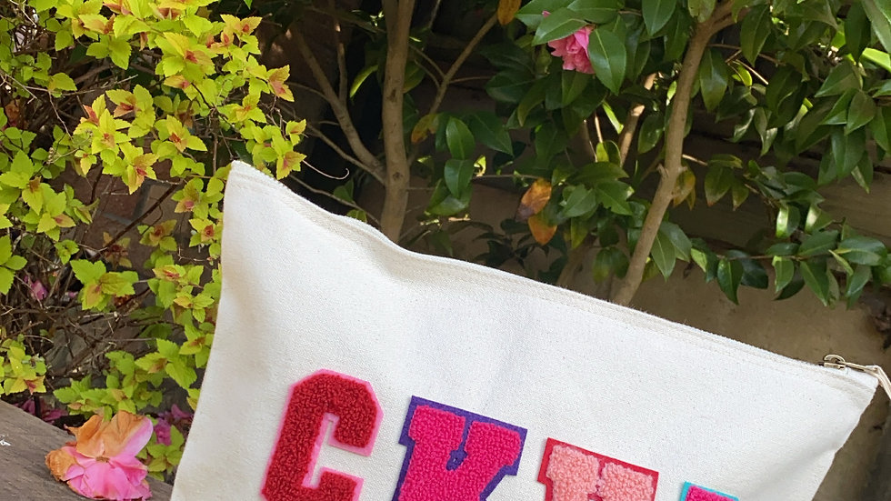 Towel Alphabet Initials/Name Accessory Bag