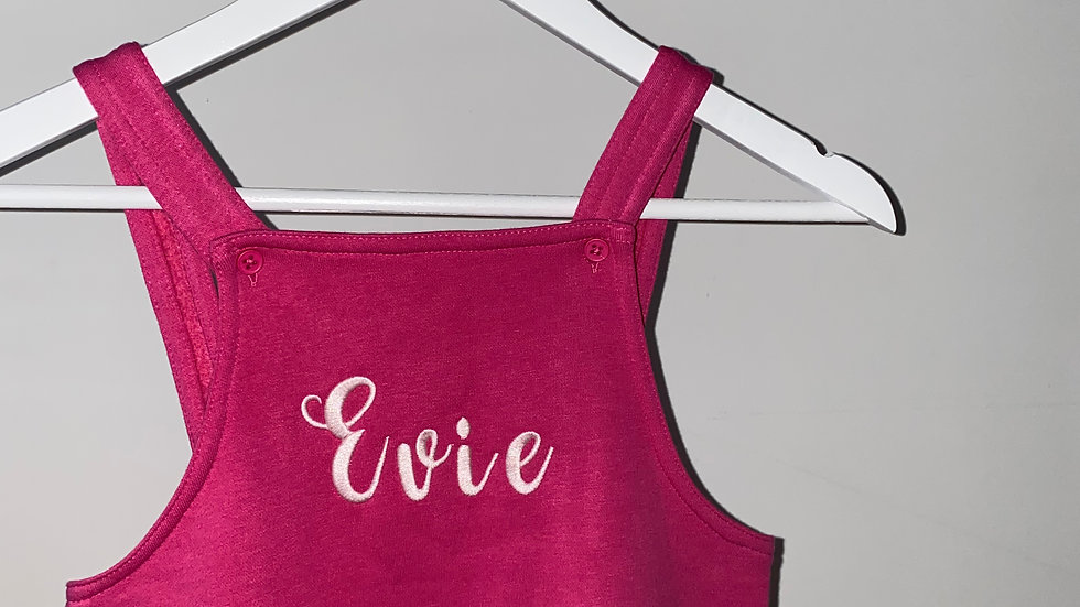 Personalised Embroidered Pink Jersey Dungarees 4-5 Years