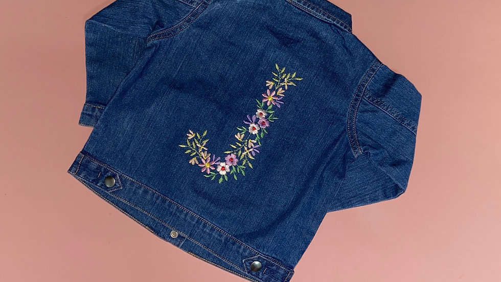 Personalised Embroidered Flower Initial Denim Jacket