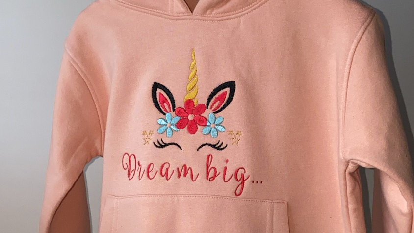 Embroidered Unicorn 'Dream Big' Dusty Pink Hoodie