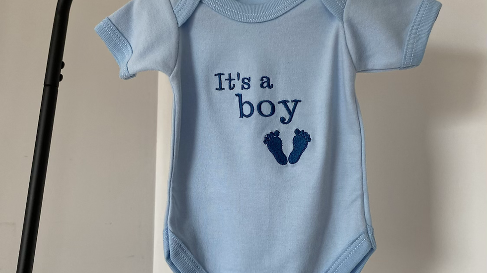 Embroidered Baby Blue Bodysuit 'It's a Boy'