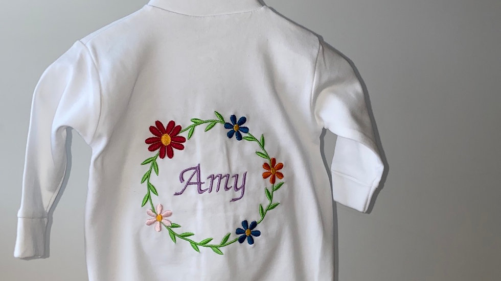 Personalised Embroidered Flower Frame with Name White Sleepsuit