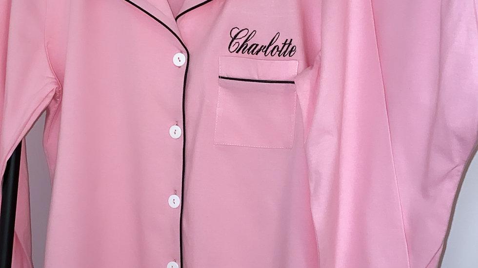 Personalised Embroidered Ladies Cotton Pyjamas