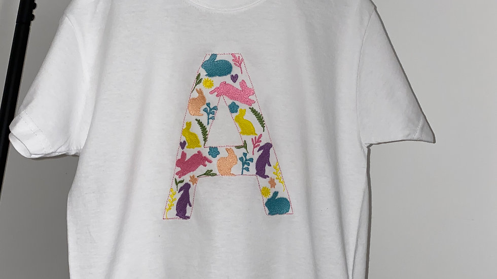 Personalised Embroidered Children's Easter Bunny Initial T-shirt
