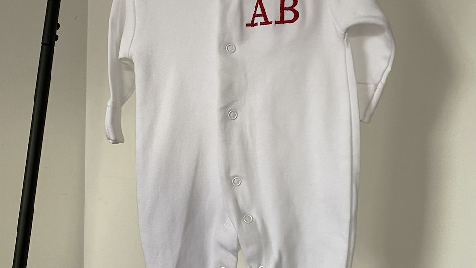 Personalised Embroidered Initial White Sleepsuit 100% Cotton